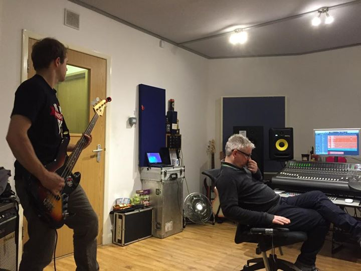 Studio day 2: Ky bassing it up – probably the best bass player in the world! Sounding awesome!#brock…