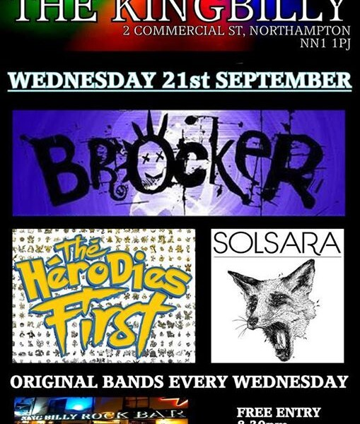 WEDNESDAY 21st SEP! We play for the first time at The King Billy Rock bar in Northampton. Come along…