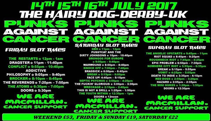 TONIGHT! We're in Derby at The Hairy Dog for the first day of Punks Against Cancer 5! festival. To d…