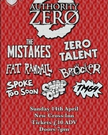 Can't wait to support @authorityzeromusic next April 14th at the @newcrossinn along 6 awesome bands….